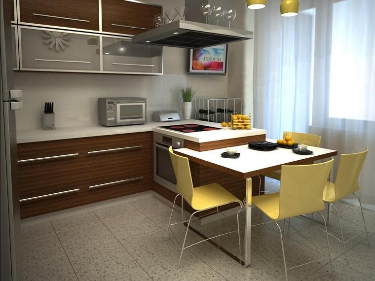 penisola cucina legno top bianco stile elegante