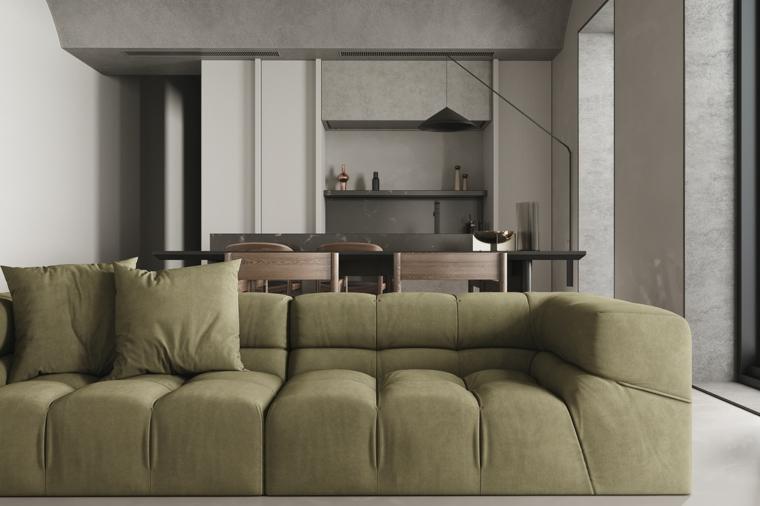 pittura soggiorno beige divano verde cucina sala da pranzo open space