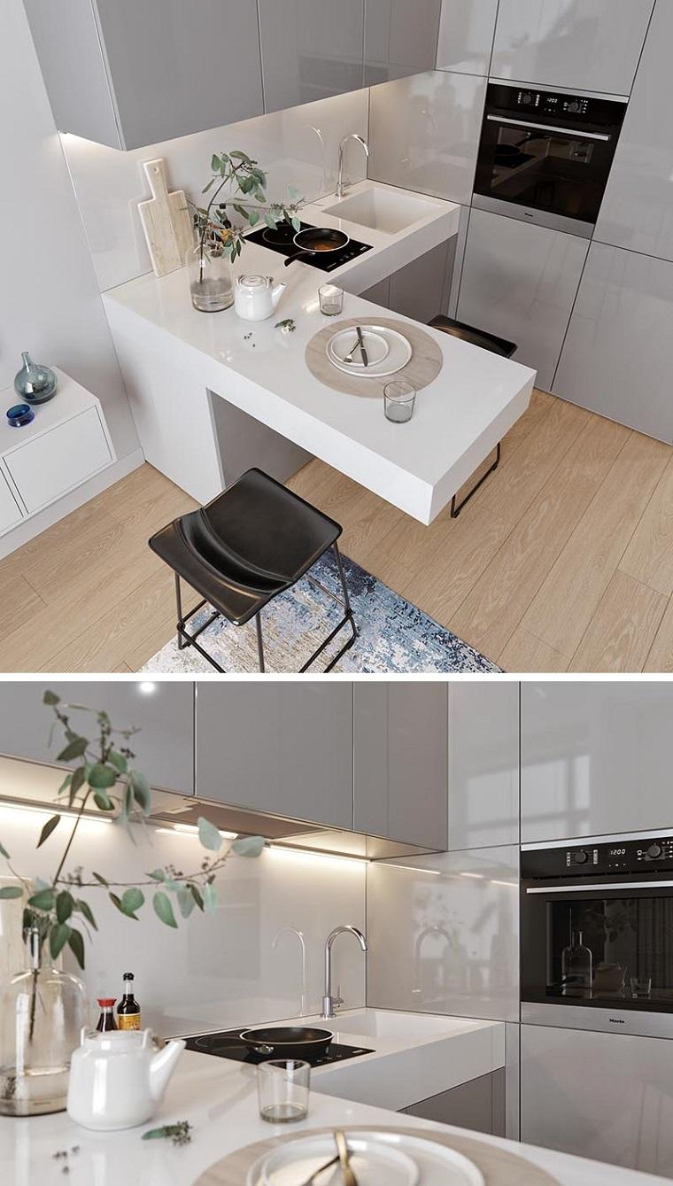prolungamento isola tavolo da pranzo cucine moderne bianche e grigie
