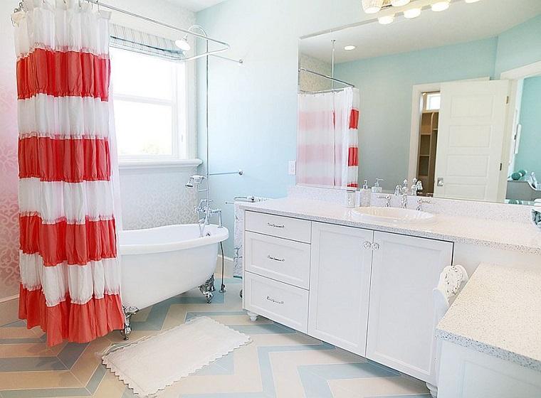 proposta particolare arredo bagno tenda bianco ross