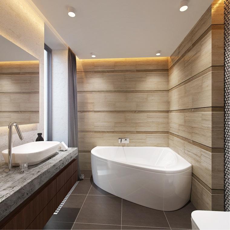 proposta particolare design moderno vasca bagno parete legno