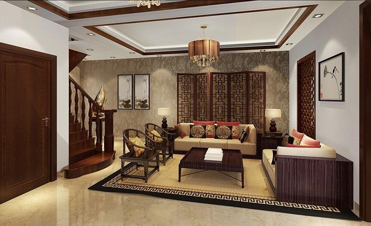 salotto arredato stile classico mobili legno lampadario
