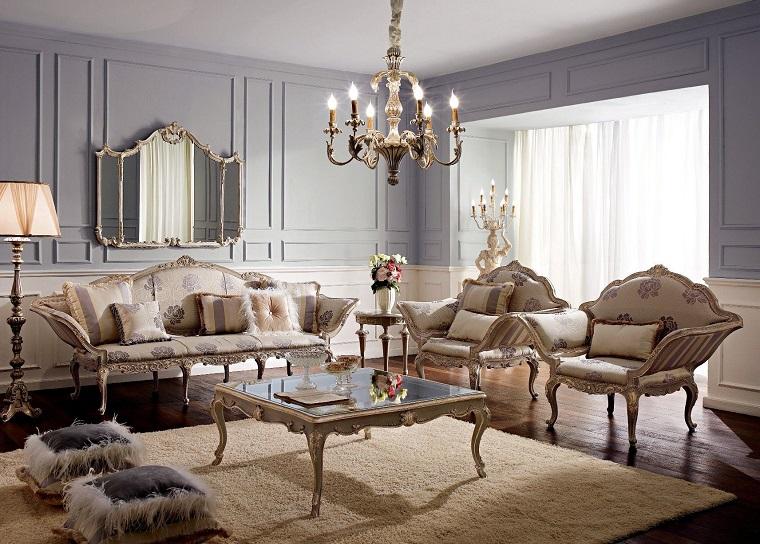 salotto classico idea arredamento originale divano specchio
