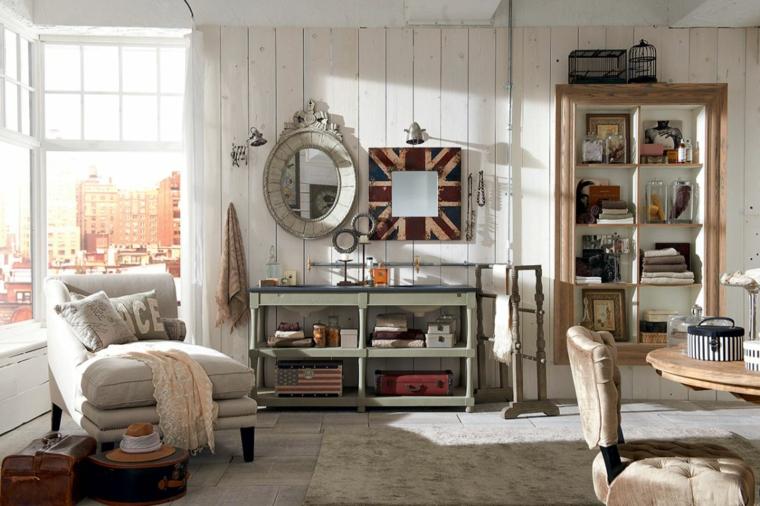 salotto con mobile di legno provenzale open space soggiorno e sala da pranzo