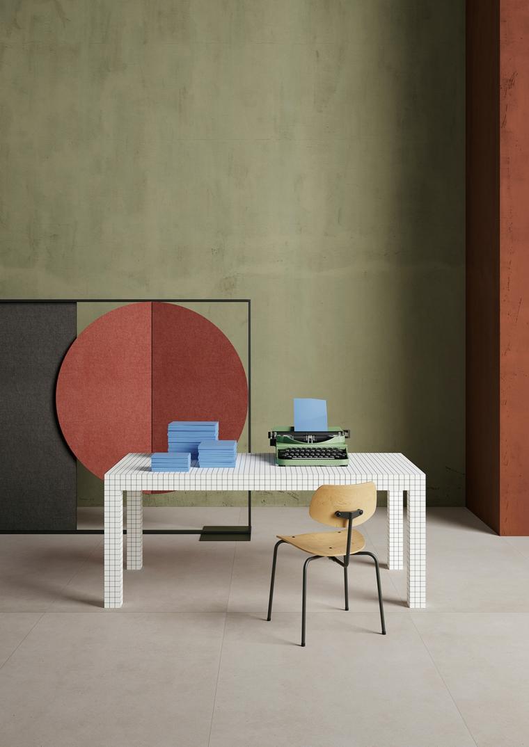 scrivania sedia tavolo decorazioni parete tortora beige scuro mobili
