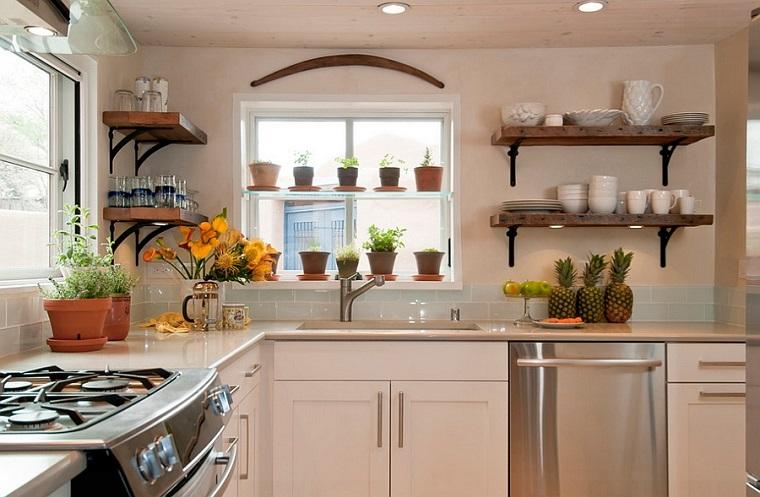 semplice design arredo cucina top legno decorazioni