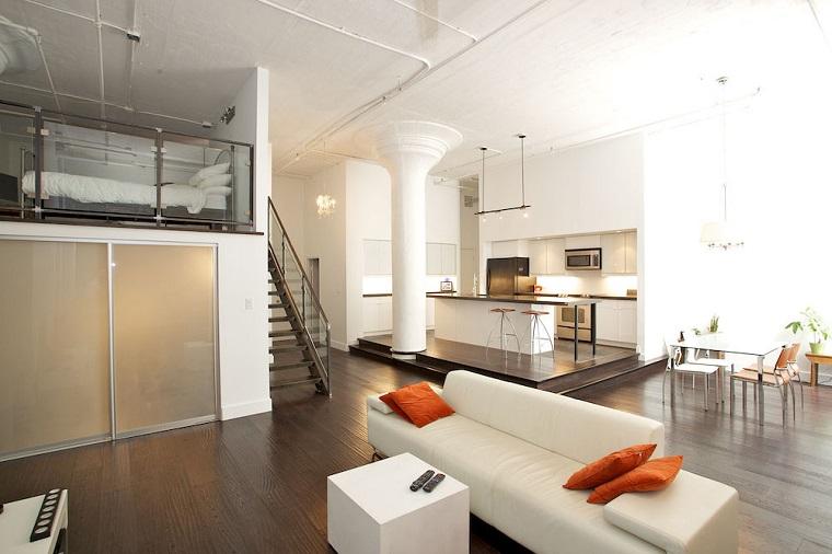 set mobili colore bianco monolocale stile pavimento legno