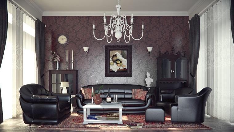 soggiorni classici divani pelle nera