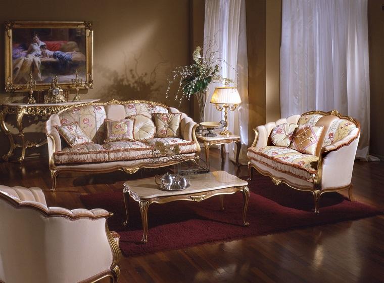soggiorni classici sofa tessuto prezioso