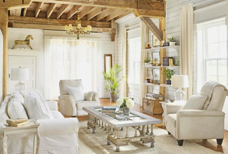 soggiorno arredato country provenzale tavolino in vetro rettangolare