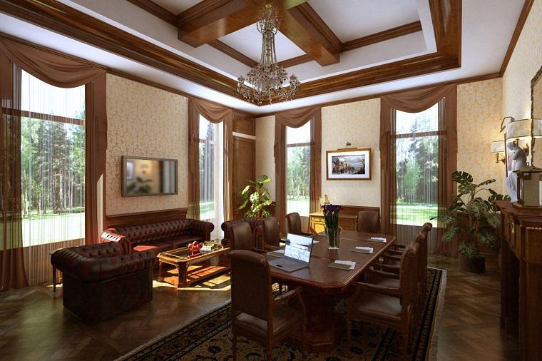 soggiorno classico divani pelle tavolo pranzo