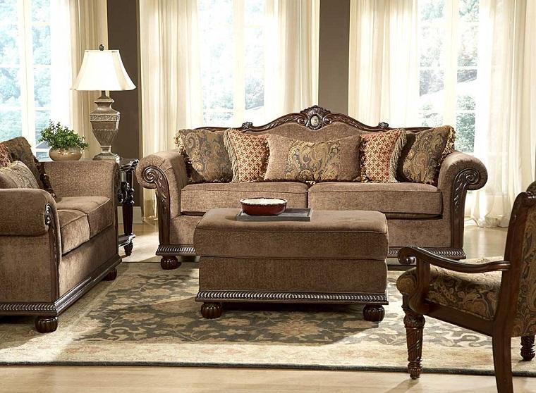 soggiorno classico divani pouf marroni