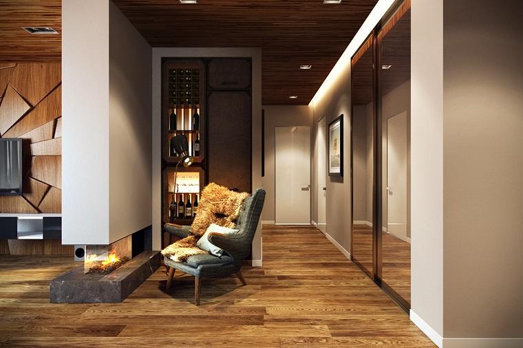 soggiorno design rustico moderno camino poltrona