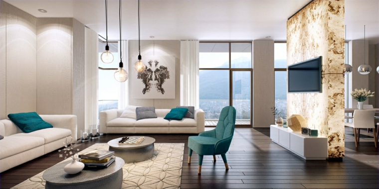 soggiorno moderno idea fresca colorata vivace