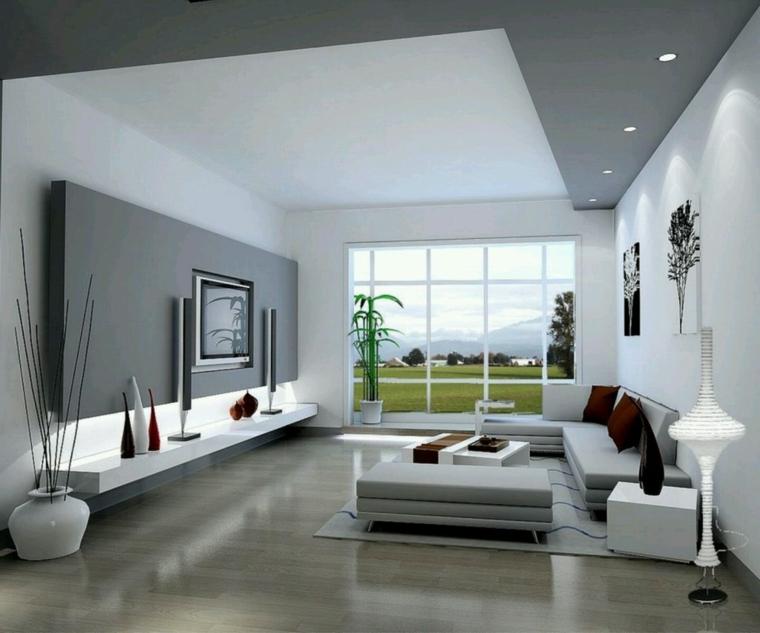 soggiorno moderno mobili colore bianco luci led