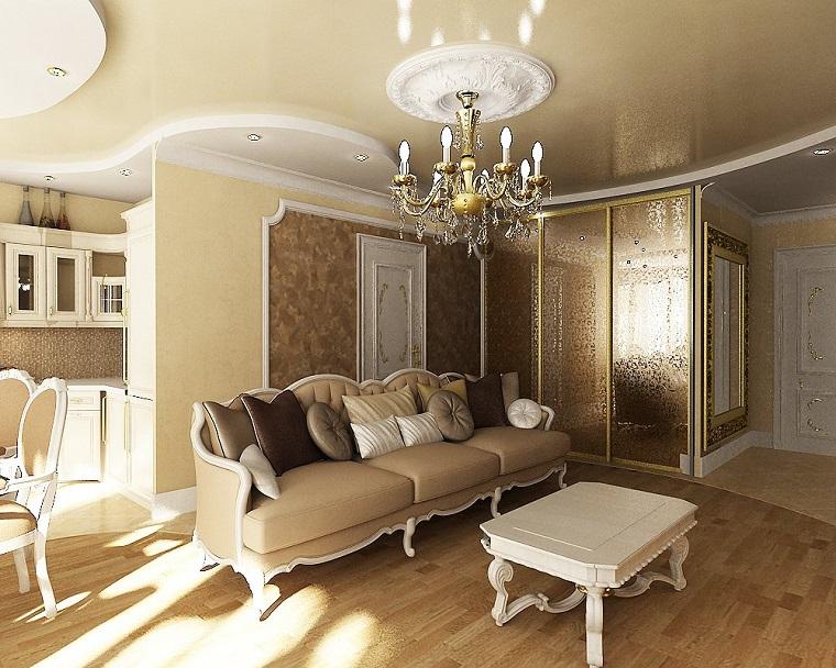 soggiorno pavimento legno divano color crema tavolino basso