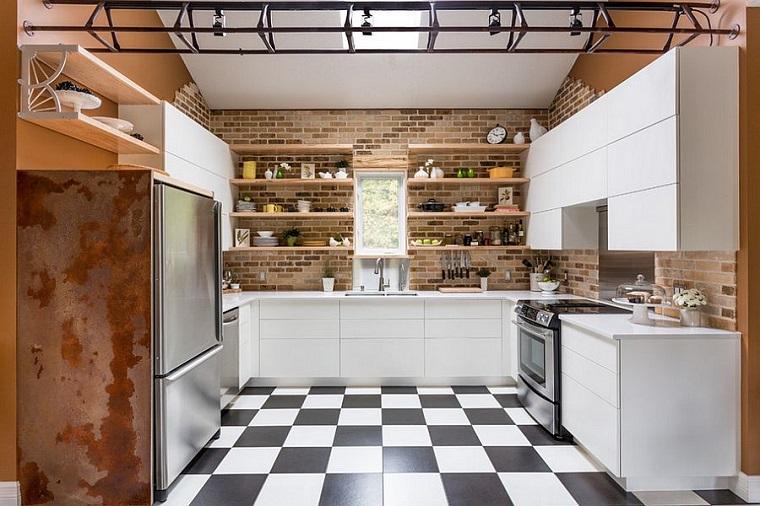 soluzione particolare arredo cucina stile industriale mobili colore bianco
