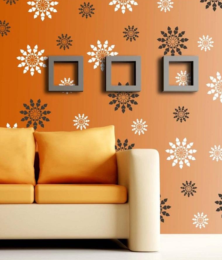 stencil parete fiori sfondo arancio