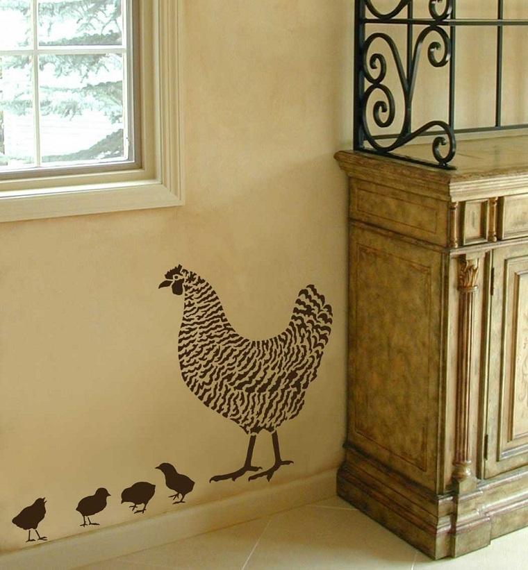 stencil parete forma gallina pulcini