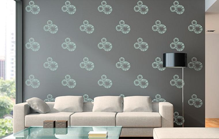 stencil per pareti idea soggiorno