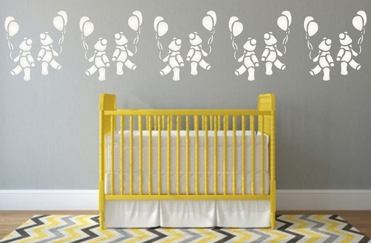 stencil per pareti orsetti palloncini