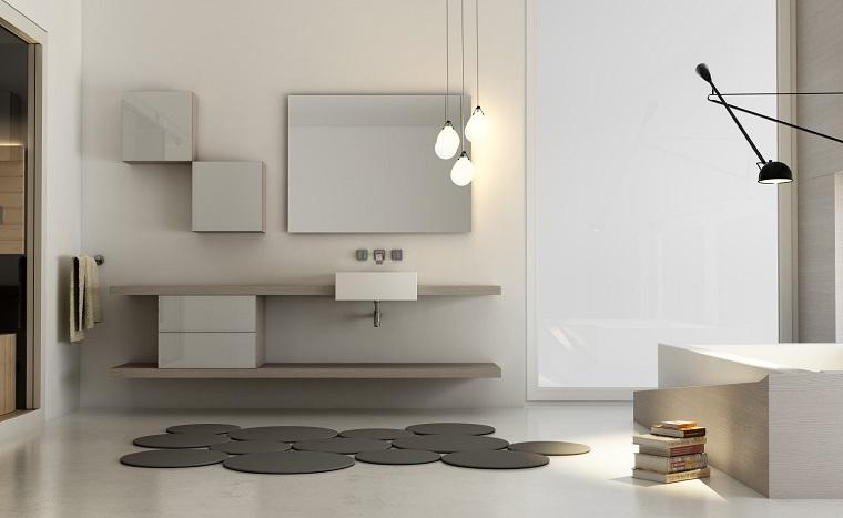 stile moderno mobile bagno bianchi