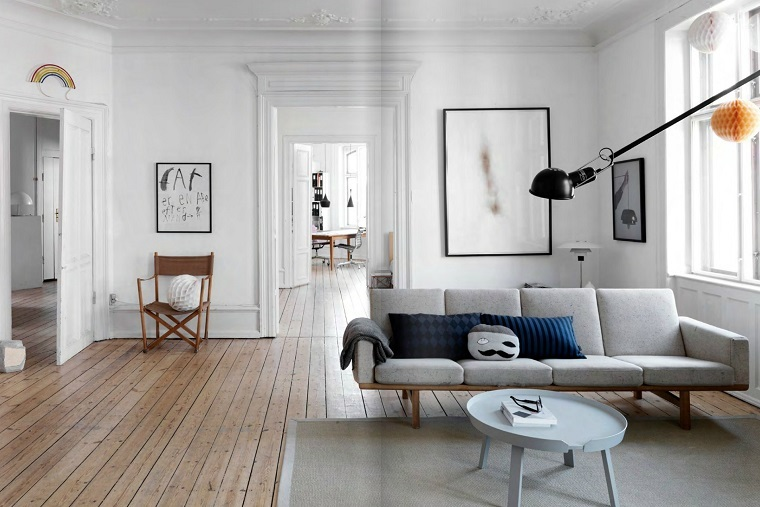 stile nordico proposta soggiorno pavimento parquet