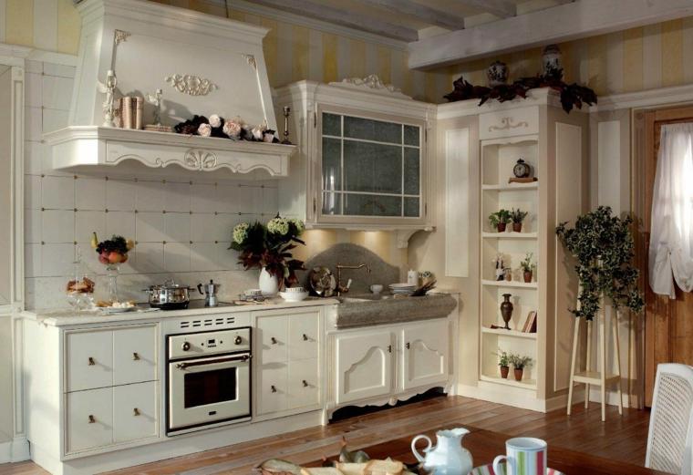 stile provenzale cucina mobili di legno cappa in muratura rivestita di legno
