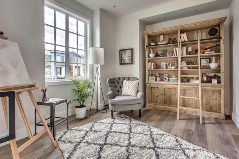 stile provenzale salotto mobile libreria di legno pavimento con tappeto nordico