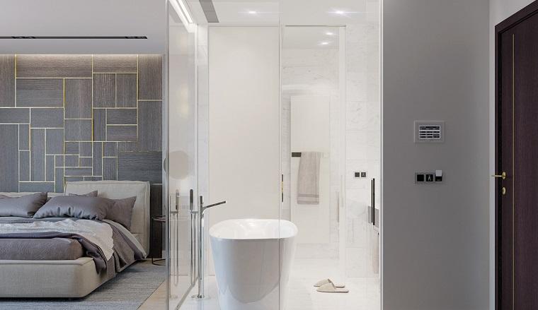 suggerimento design moderno arredo zona notte bagno vista