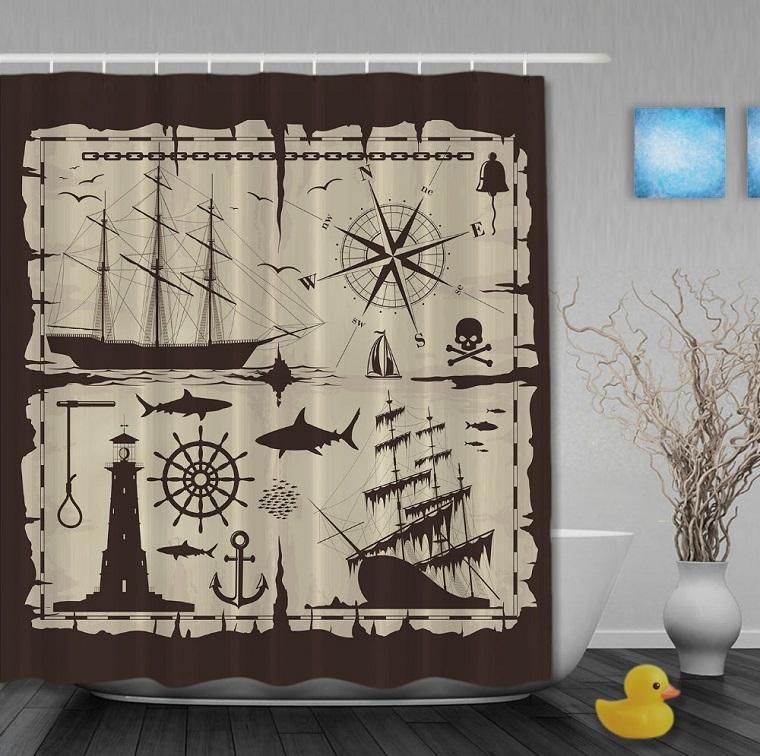 Tende per bagno 24 idee originali fra il classico e il for Arredo bagno marinaro