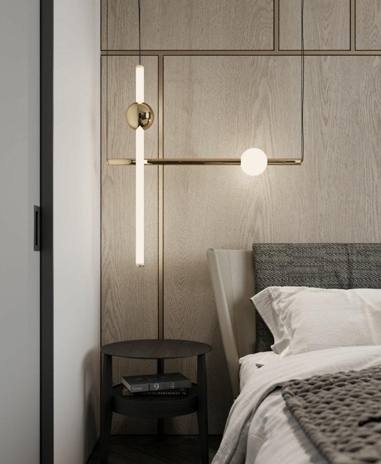 testata letto zona notte parete pannello legno colore beige tortora comodino lampada sospesa