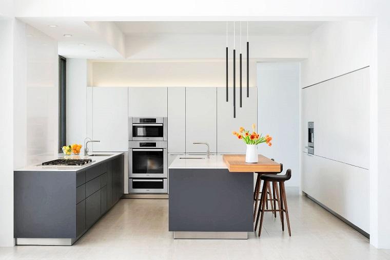 Cucina bianca e grigia un tocco di stile alla vostra zona - Top cucina grigio ...