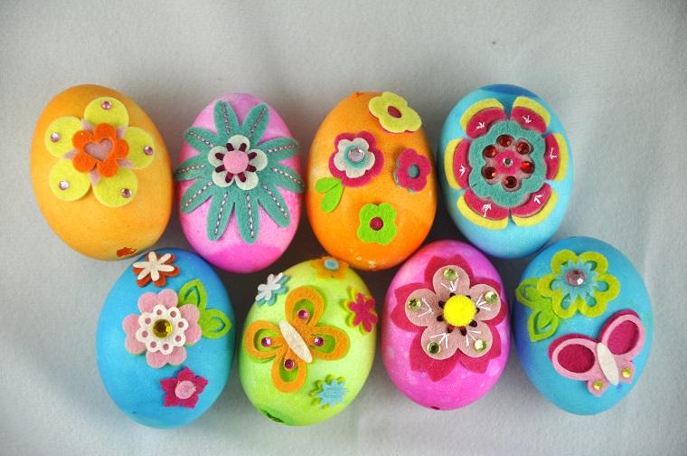 uova pasqua fai da te molto colorati design