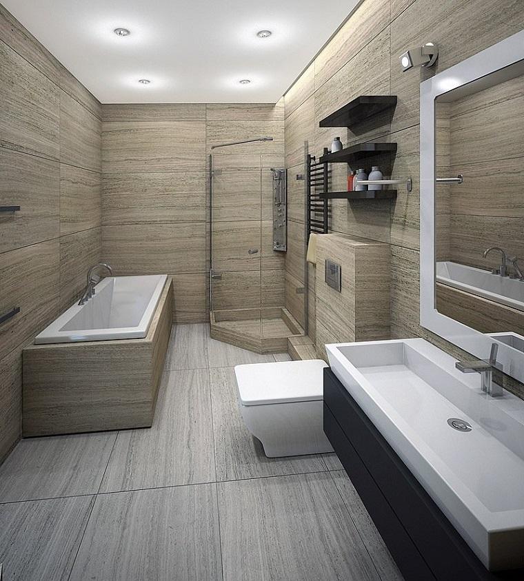 vasca bagno rivestita legno lavandino molto grande
