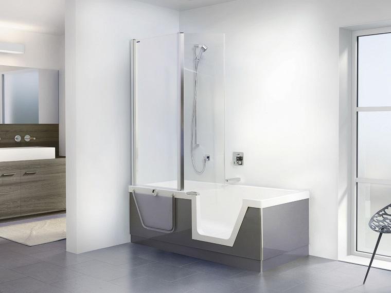 vasca con doccia apertura frontale