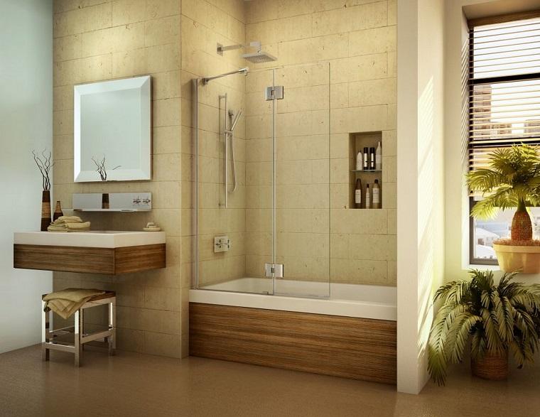 vasca con doccia bagno elegante