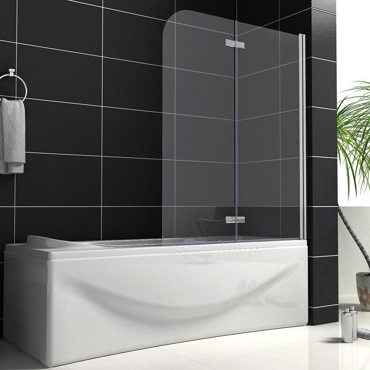 vasca da bagno con doccia pannello doppio
