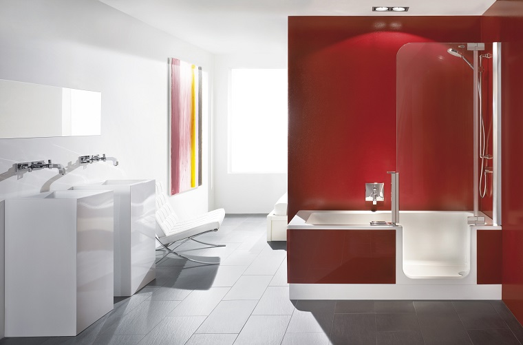 vasche da bagno con doccia proposta rivestimento rosso