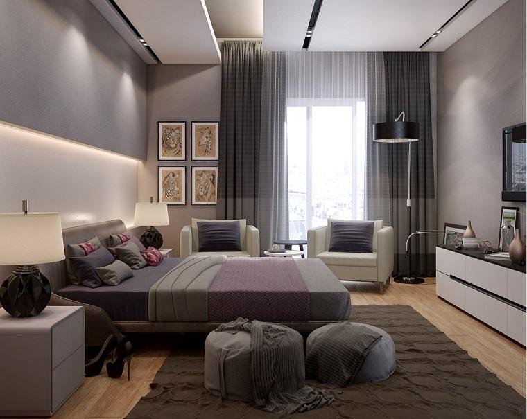 zona notte arredata mobili stile moderno