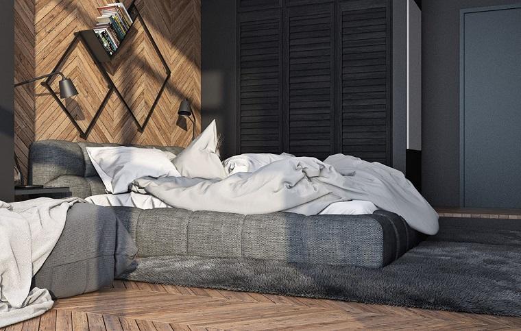 zona notte letto tessuto parete decorata