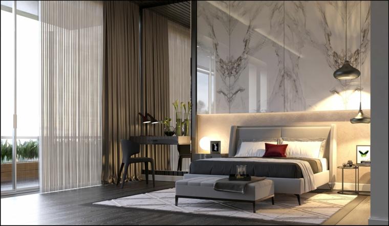 zona notte letto testata tortora colore beige pareti mobili tende finestra marmo