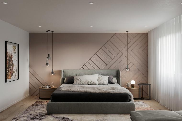 zona notte parete beige camera da letto lampade disegno tappeto finestra tende
