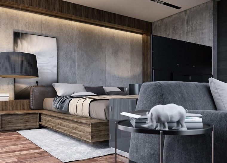 arredamento-camera-da-letto-grigio-mobili-legno