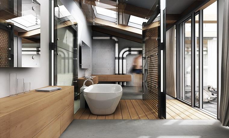 arredamento industriale-bagno-mobili-legno-vasca
