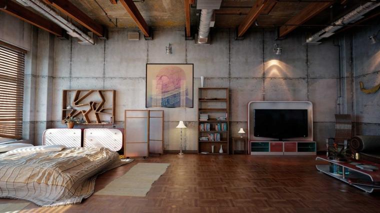 Monolocale con camera da letto e soggiorno, arredo industrial con mobili di legno