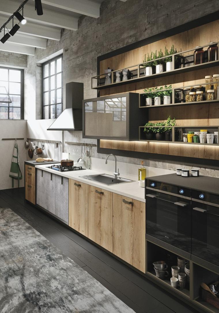 Cucina industrial chic, mobili cucina in legno, parete con pannello di legno con mensole