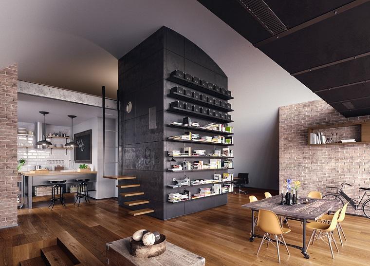 Mobili stile industriale, open space cucina e sala da pranzo, parete nera con mensole a vista