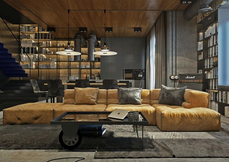 Divano in pelle di colore giallo, tavolino con ruote per soggiorno, salotto industrial