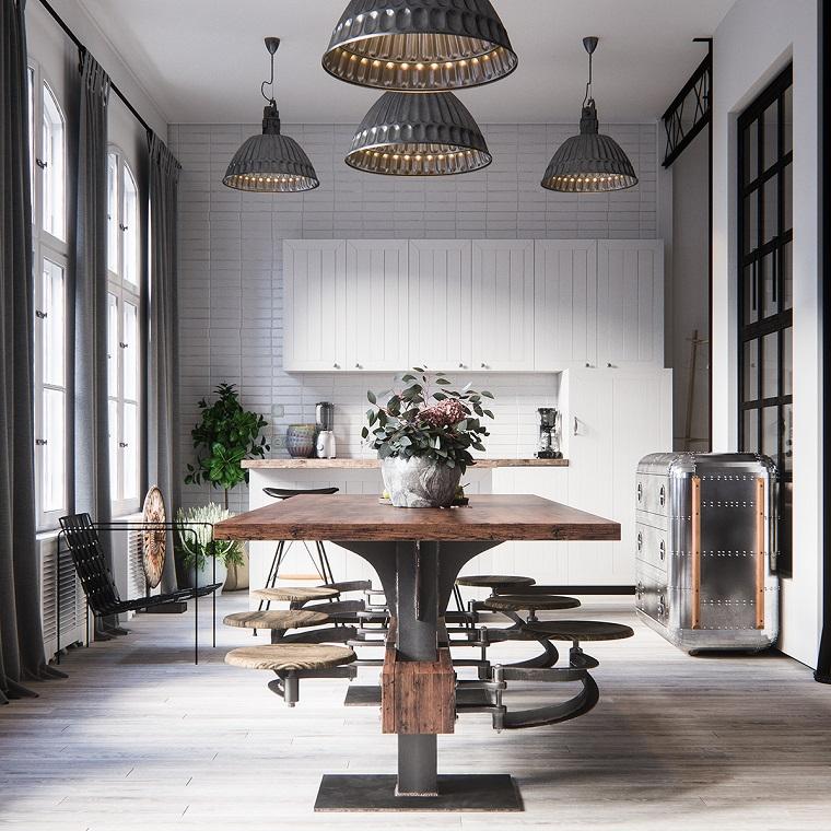 Mobili industriali vintage, cucina con tavolo da pranzo, mobile in acciaio design valigia